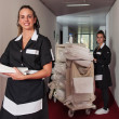 Two chambermaid women cleaning in a hotel...