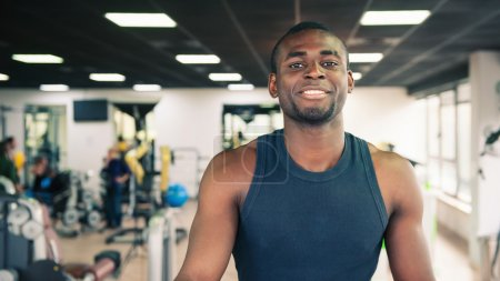 Young black man portrait in the gym