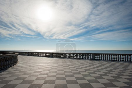 Photo for Mascagni terrace in front of the sea, Livorno. Tuscany, Italy. - Royalty Free Image