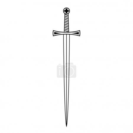 Sword. Black and white vector illustration