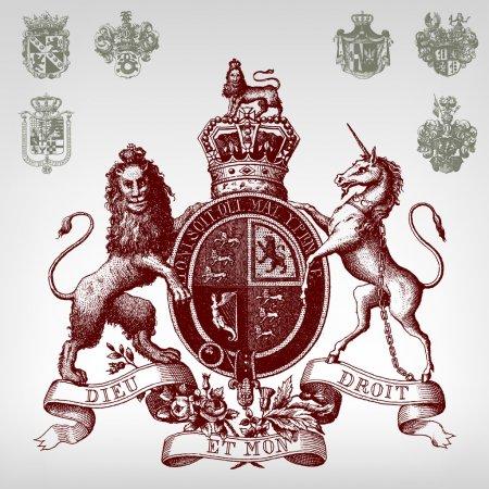 Engraving vintage coat of arms set