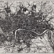 Historical map of London, England....
