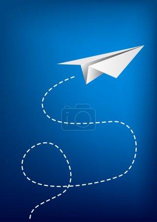 Illustration pour Avion en papier volant . - image libre de droit
