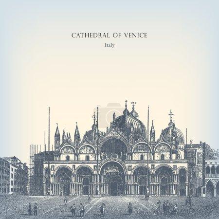 Illustration pour Gravure ancienne Cathédrale de Venise . - image libre de droit