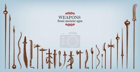 Engraving vintage old weapons illustrations.