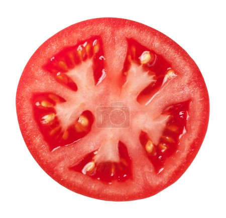 Photo for Tomato slice isolated on white background, top view - Royalty Free Image