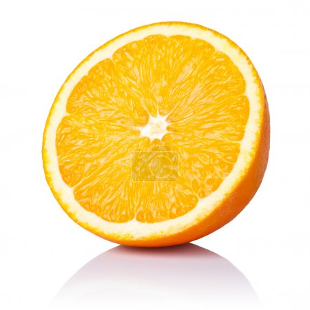 Photo for Half orange fruit on white background, fresh and juicy - Royalty Free Image