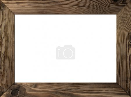 Photo for Wood frame isolated inside, old dark brown planks - Royalty Free Image
