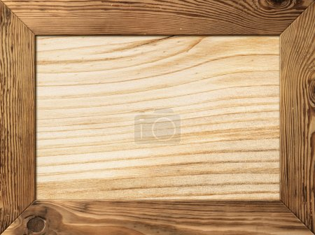 Photo for Natural wood frame with wooden plank inside - Royalty Free Image