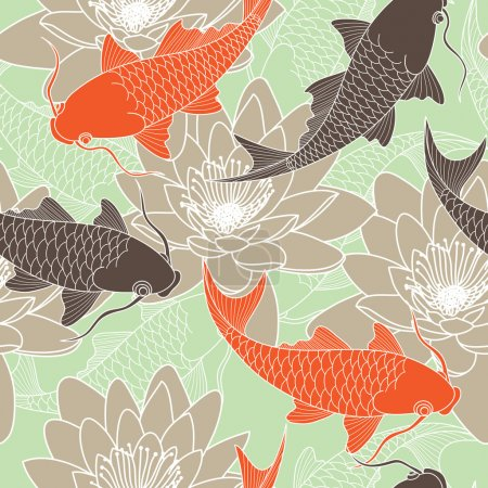 Illustration for Chinese seamless pattern with lotus and carps - Royalty Free Image