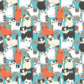 Funny cartoon cats Seamless pattern