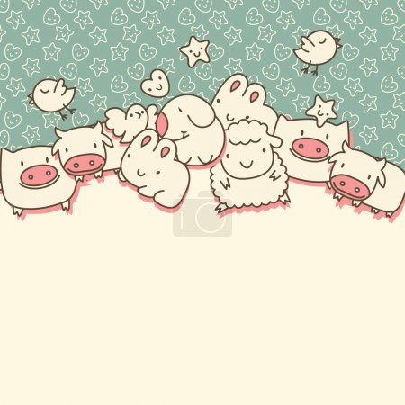 Background with cute cartoon animals