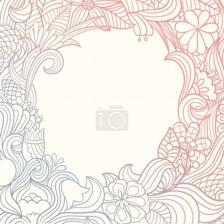 Illustration for Floral background. Hand drawn original frame - Royalty Free Image