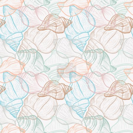 Illustration for Seamless pattern with shells - Royalty Free Image
