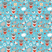 Romantic seamless pattern with funny cartoon animals