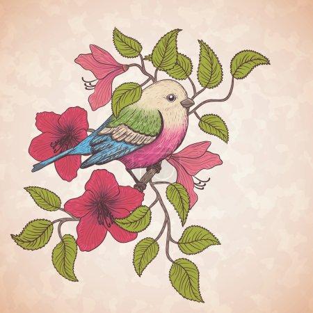 Illustration vectorielle d'un oiseau coloré et fleurs d'été en fleurs