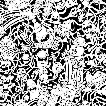 Illustration for Christmas seamless pattern with cute crazy monsters - Royalty Free Image