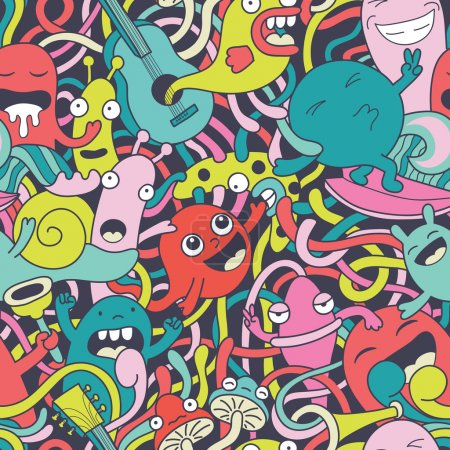 Funny monsters seamless pattern...