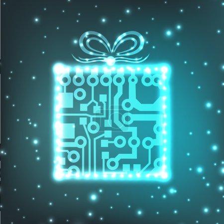 EPS10 circuit board christmas gift box background