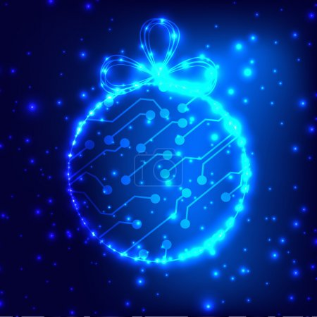 Illustration for EPS10 vector circuit board ball christmas background texture - Royalty Free Image
