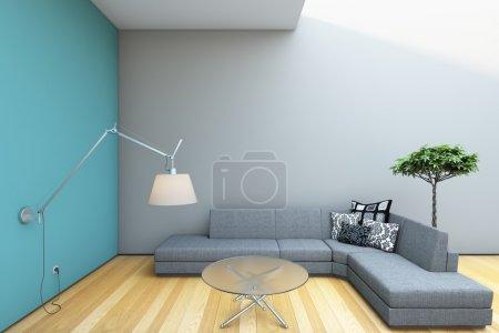 Modern Grey Sofa Lamp Interior