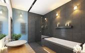 Koupelna v šedé a modré barvy