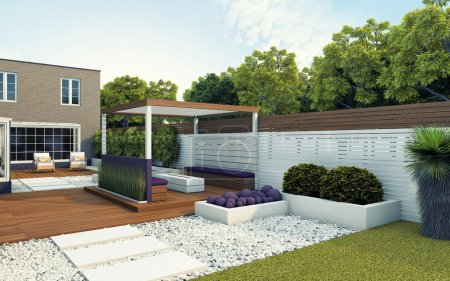 Photo for Modern back garden of the house - Royalty Free Image