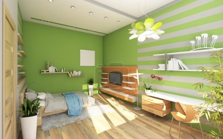 Photo for Teen's Room With Colored Wall - Royalty Free Image