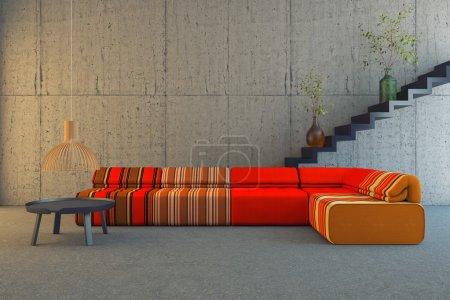 red and orange sofa