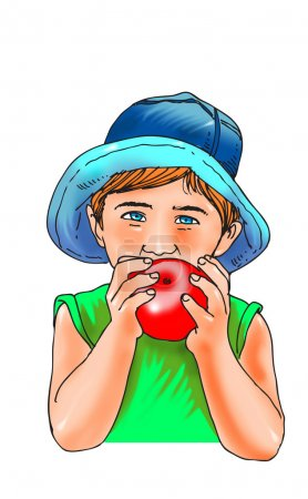 Photo for Missing front teeth eating apple on red bean bag chair against white backgroun - Royalty Free Image