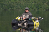 Fishing with a float tube
