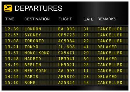 Photo pour Tableau des départs des vols isolé sur fond blanc - image libre de droit