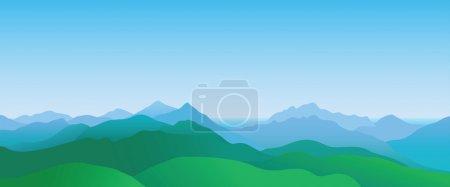 Illustration pour Paysage de montagne, paysage d'été abstrait - image libre de droit