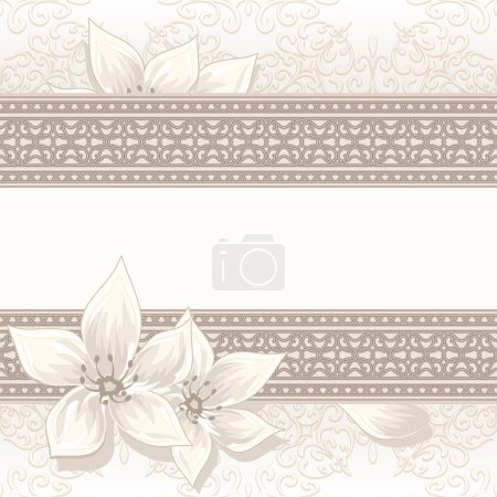 Illustration for Vintage beige background with seamless border ornament - Royalty Free Image