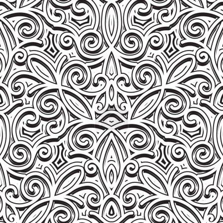Illustration pour Ornement vintage, motif sans couture noir et blanc - image libre de droit