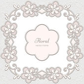 Abstract decorative frame with stylized flowers in light colors