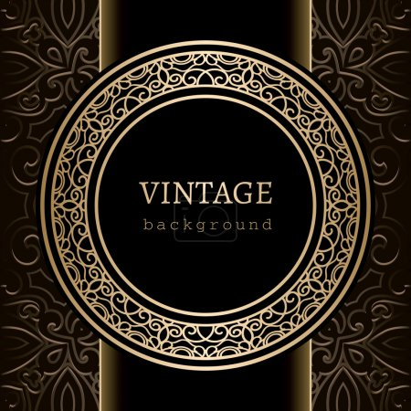 Illustration for Vintage background, gold ornamental round frame - Royalty Free Image