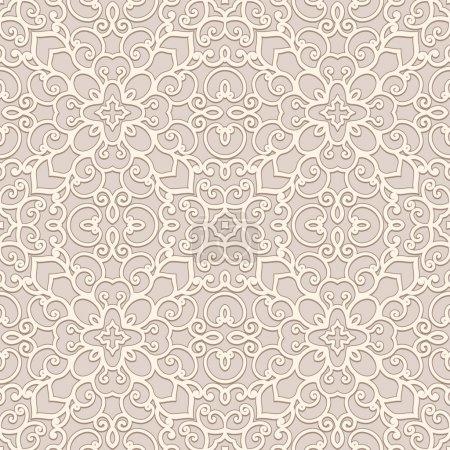 Illustration pour Fond beige ornemental, motif sans couture - image libre de droit