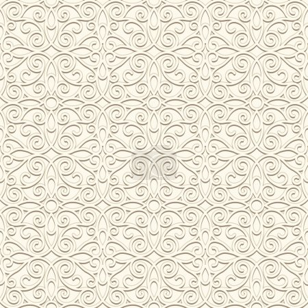 Illustration for White background, vintage ornament, seamless pattern in light color - Royalty Free Image