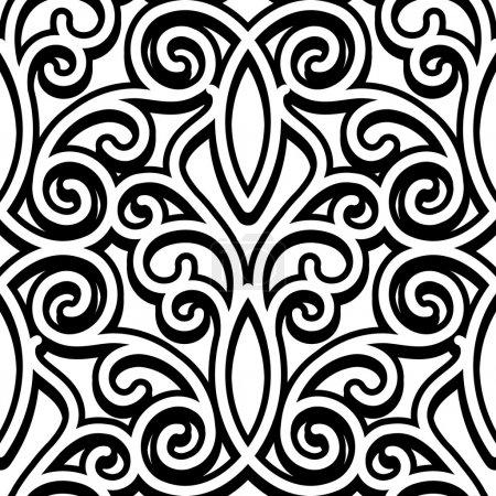 Illustration pour Ornement noir et blanc, motif tourbillonnant sans couture - image libre de droit