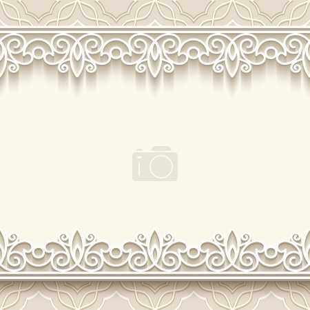 Illustration for Paper lace frame with seamless borders over ornamental background - Royalty Free Image