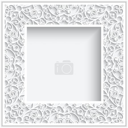 Illustration for Abstract square frame with paper swirls, ornamental white background - Royalty Free Image