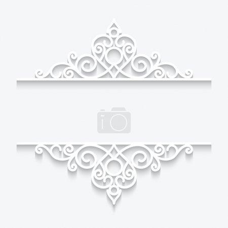 Illustration pour Diviseurs en papier découpés sur cadre en dentelle blanche et ornementale - image libre de droit