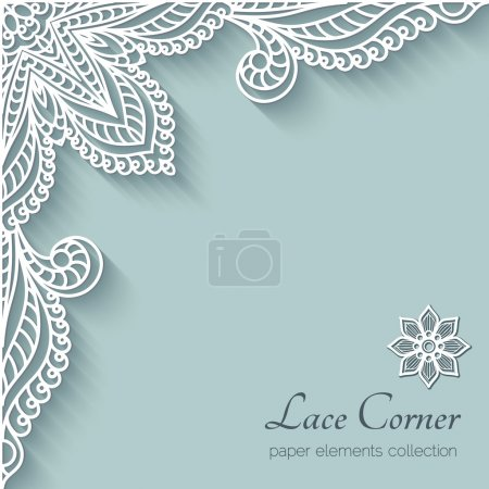 Illustration for Paper background with lace corner ornament - Royalty Free Image