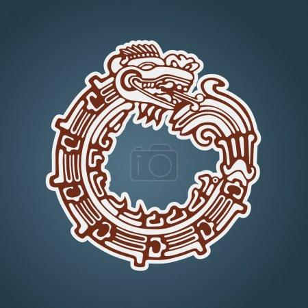 Illustration pour Quetzalcoatl ouroboros, maya serpent rond symbolique, manger sa propre queue - image libre de droit