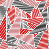Red and gray striped triangles on white background chaotic seamless pattern