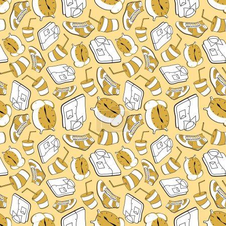 Illustration for Abstract seamless pattern made of usual morning things (clock, shirt, shoe, drink) - Royalty Free Image