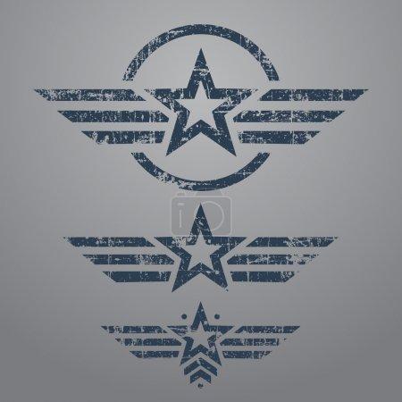 Abstract grunge military star emblem set on gray b...