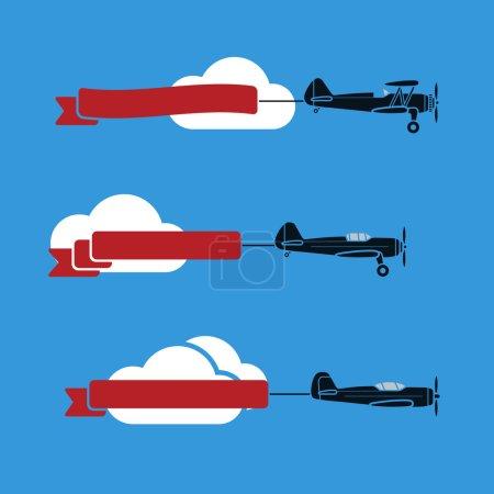 Illustration pour Trois avions plats dans le ciel avec des rubans et des nuages - image libre de droit