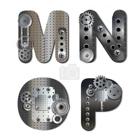 Illustration for Vector mechanical alphabet of gears. Letter. ps 10 file with transparencies and drop shadow(banner).All elements are separate, easily editable in separate layers. Vector illustration scale to any size. - Royalty Free Image